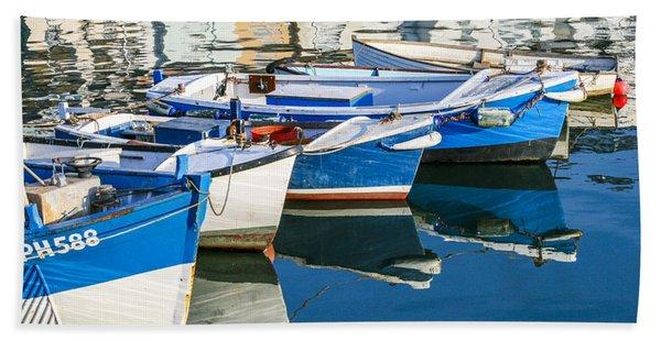 Boats At Anchor Beach Towel