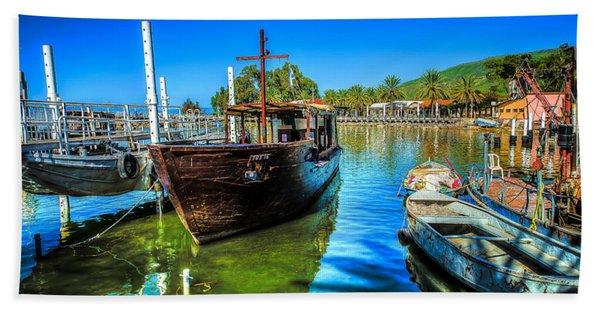 Boats At Kibbutz On Sea Galilee Beach Towel