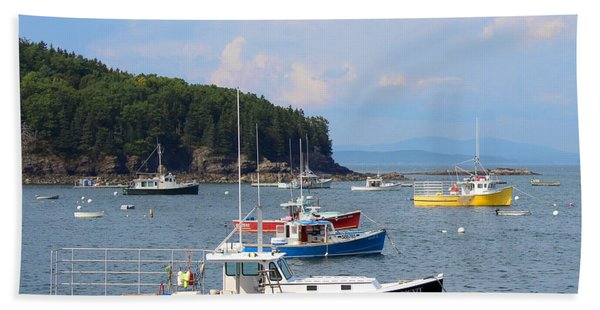 Beach Towel featuring the photograph Boats In Bar Harbor by Jemmy Archer