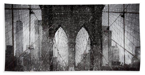 Brooklyn Bridge Snow Day Beach Towel
