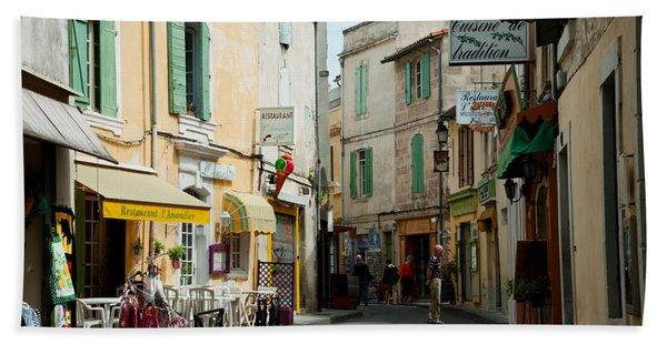 Buildings Along A Street, Rue Porte De Beach Towel