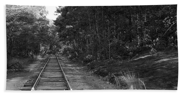 Bw Railroad Track To Somewhere Beach Towel
