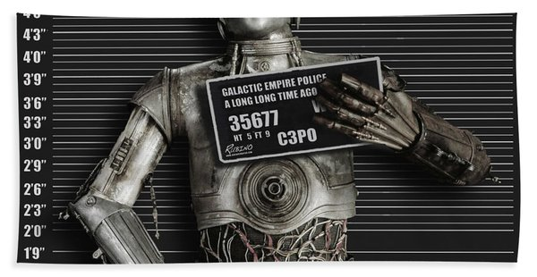 C-3po Mug Shot Beach Towel