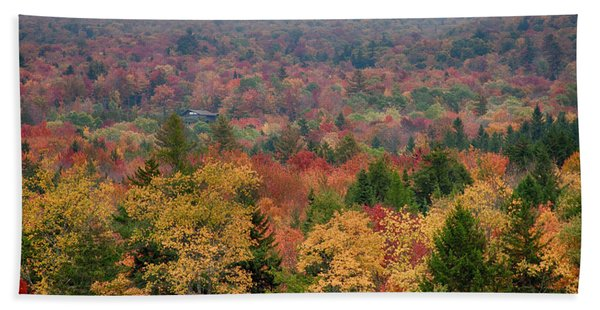 Beach Towel featuring the photograph Cabin In Vermont Fall Colors by Jeff Folger