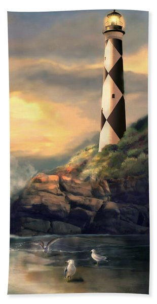 Twindeling Light Cape Lookout Lighthouse North Carolina At Sunset  Beach Towel