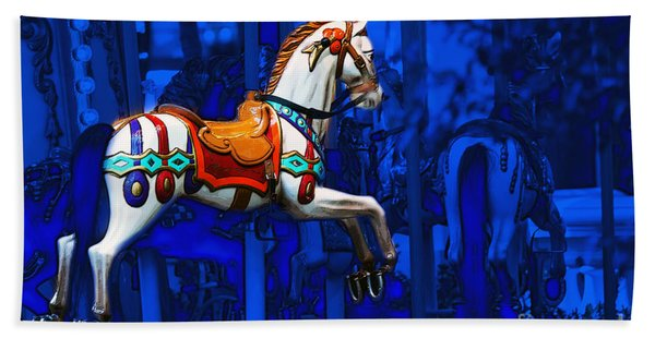 Beach Towel featuring the photograph Carousel Horse by Gunter Nezhoda