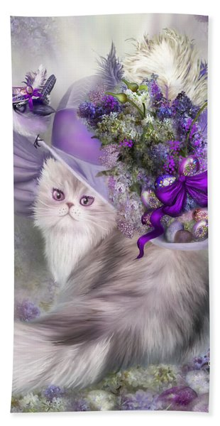 Cat In Easter Lilac Hat Beach Sheet