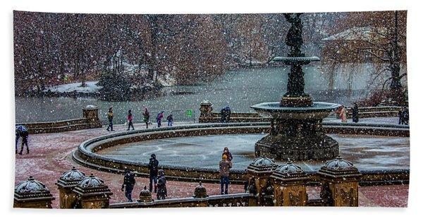 Central Park Snow Storm Beach Towel
