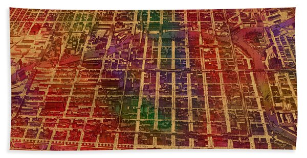Chicago Illinois Map Business District 1898 Birds Eye View Watercolor Painting On Parchment  Beach Towel