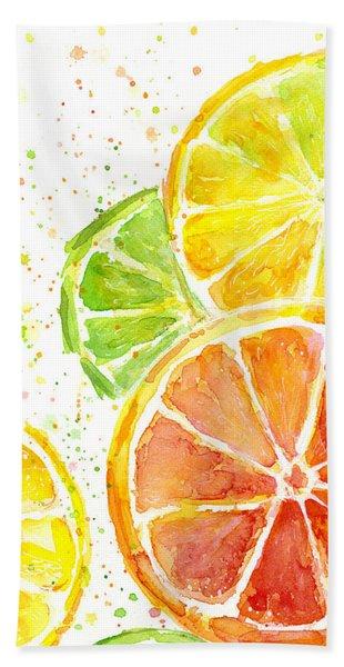 Citrus Fruit Watercolor Beach Towel