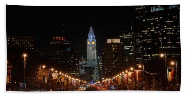 City Hall At Night Beach Towel