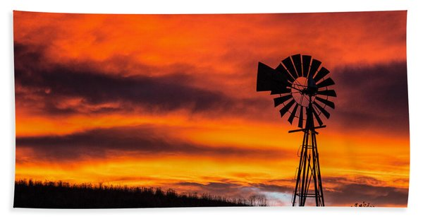 Cobblestone Windmill At Sunset Beach Towel