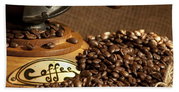 Beach Towel featuring the photograph Coffee Grinder With Beans by Gunter Nezhoda