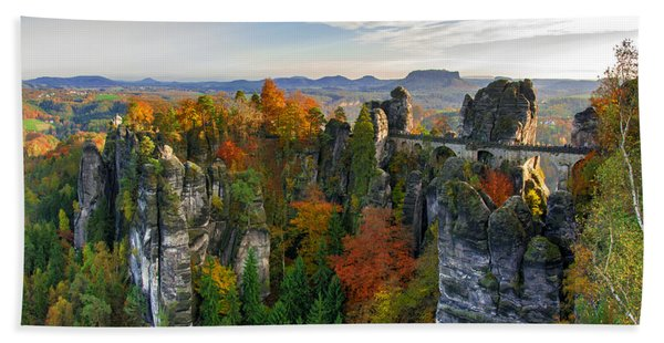 Colorful Bastei Bridge In The Saxon Switzerland Beach Towel