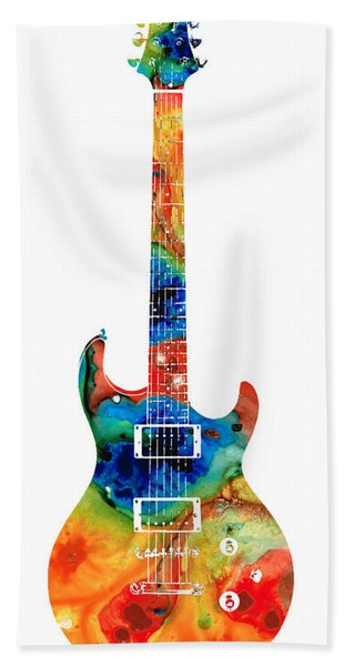 Colorful Electric Guitar 2 - Abstract Art By Sharon Cummings Beach Towel