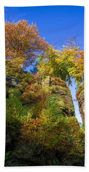 Colorful Trees In The Elbe Sandstone Mountains Beach Towel