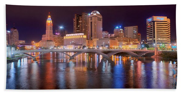 Columbus Skyline At Night Color Panorama Ohio Beach Towel