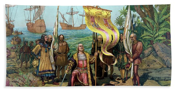 Columbus Taking Possession Of The New Country Beach Towel