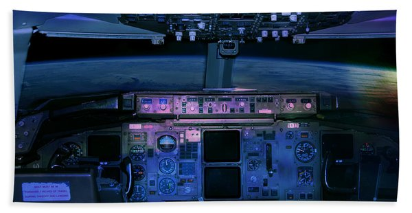 Beach Towel featuring the photograph Commercial Airplane Cockpit By Night by Gunter Nezhoda