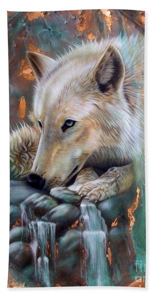 Copper Arctic Wolf Beach Towel