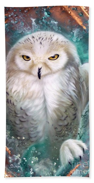 Copper Snowy Owl Beach Towel
