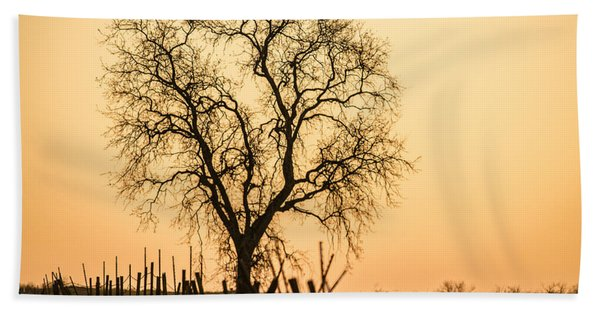 Country Fence Sunset Beach Towel