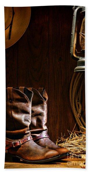 Cowboy Boots At The Ranch Beach Towel