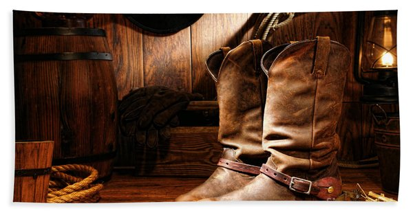 Cowboy Boots In A Ranch Barn Beach Towel