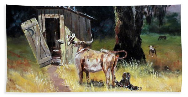 Cowboy On The Outhouse  Beach Towel