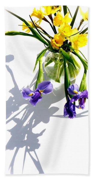 Daffodils And Iris Beach Towel