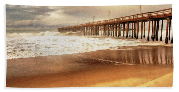 Beach Towel featuring the painting Day At The Pier Large Canvas Art, Canvas Print, Large Art, Large Wall Decor, Home Decor, Photograph by David Millenheft