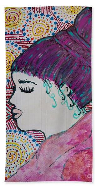 Beach Towel featuring the painting Did You See Her Hair by Jacqueline Athmann