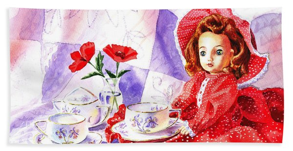 Doll At The Tea Party  Beach Towel