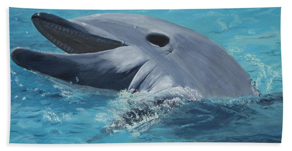 Dolphin At Play Beach Sheet