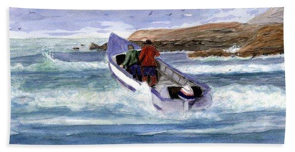 Dory Boat Heading To Sea Beach Towel