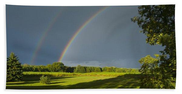 Double Rainbow Over Fields Beach Towel
