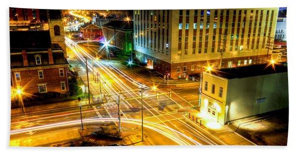 Downtown Avery Street At Night Beach Towel