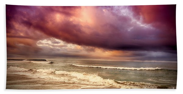 Beach Towel featuring the photograph Dramatic Beach by David Millenheft