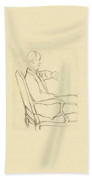 Drawing Of Man Looking At His Watch Beach Towel