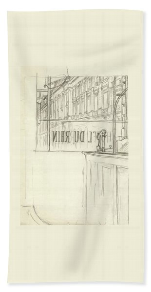 Drawing Of A Bar And Front Window Of Hotel Du Rhin Beach Towel