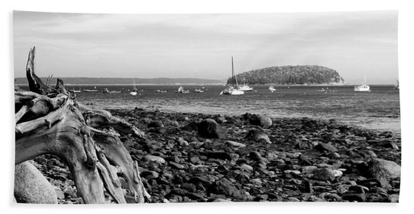 Beach Towel featuring the photograph Driftwood And Harbor by Jemmy Archer