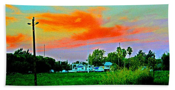 Dry Dock At Sunset Beach Towel