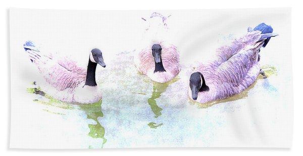 Beach Towel featuring the photograph Ducks by Gunter Nezhoda