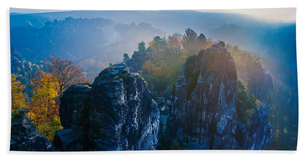 Early Morning Mist At The Bastei In The Saxon Switzerland Beach Towel