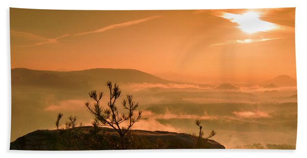 Early Morning On The Lilienstein Beach Towel