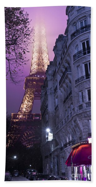 Eiffel Tower From A Side Street Beach Towel