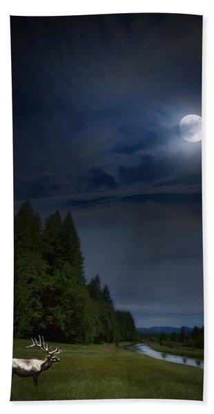 Elk Under A Full Moon Beach Towel