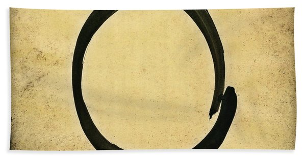 Enso #4 - Zen Circle Abstract Sand And Black Beach Towel