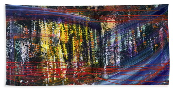 Evening Pond By A Road Beach Towel