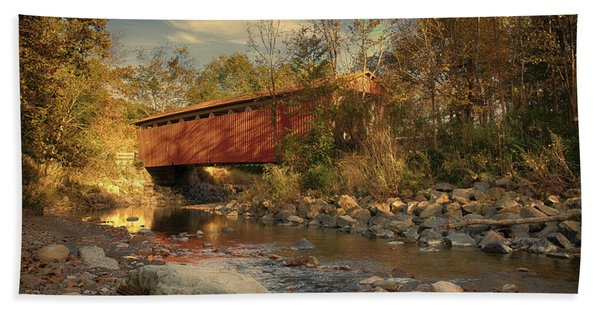 Everett Rd Summit County Ohio Covered Bridge Fall Beach Towel
